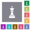 Black chess queen square flat icons - Black chess queen flat icons on simple color square backgrounds