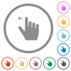 Right handed move left gesture flat icons with outlines - Right handed move left gesture flat color icons in round outlines on white background