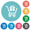 Gift shopping flat round icons - Gift shopping flat white icons on round color backgrounds