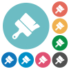 Paint brush flat round icons - Paint brush flat white icons on round color backgrounds