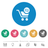 Checkout with new Shekel cart flat round icons - Checkout with new Shekel cart flat white icons on round color backgrounds. 6 bonus icons included.