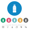 Water bottle flat round icons - Water bottle flat white icons on round color backgrounds. 6 bonus icons included.