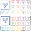 Two tennis rackets outlined flat color icons - Two tennis rackets color flat icons in rounded square frames. Thin and thick versions included.