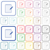 Spiral notepad with pencil outlined flat color icons - Spiral notepad with pencil color flat icons in rounded square frames. Thin and thick versions included.