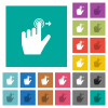 Left handed slide right gesture square flat multi colored icons - Left handed slide right gesture multi colored flat icons on plain square backgrounds. Included white and darker icon variations for hover or active effects.