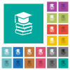 Graduation cap with books square flat multi colored icons - Graduation cap with books multi colored flat icons on plain square backgrounds. Included white and darker icon variations for hover or active effects.