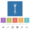 Single wrench flat white icons in square backgrounds - Single wrench flat white icons in square backgrounds. 6 bonus icons included.