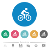 Bicycle with rider flat round icons - Bicycle with rider flat white icons on round color backgrounds. 6 bonus icons included.