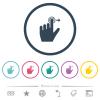 Left handed slide right gesture flat color icons in round outlines - Left handed slide right gesture flat color icons in round outlines. 6 bonus icons included.