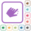 Left handed pinch close gesture simple icons - Left handed pinch close gesture simple icons in color rounded square frames on white background