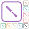 Single screwdriver simple icons - Single screwdriver simple icons in color rounded square frames on white background