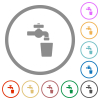 Drinking water flat icons with outlines - Drinking water flat color icons in round outlines on white background