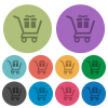 Gift shopping color darker flat icons - Gift shopping darker flat icons on color round background