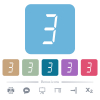 digital number three of seven segment type flat icons on color rounded square backgrounds - digital number three of seven segment type white flat icons on color rounded square backgrounds. 6 bonus icons included