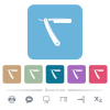 Straight razor flat icons on color rounded square backgrounds - Straight razor white flat icons on color rounded square backgrounds. 6 bonus icons included