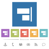 Align to right flat white icons in square backgrounds. 6 bonus icons included. - Align to right flat white icons in square backgrounds