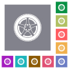 Car wheel square flat icons - Car wheel flat icons on simple color square backgrounds