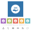 24h service sticker flat white icons in square backgrounds - 24h service sticker flat white icons in square backgrounds. 6 bonus icons included.