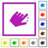 Left handed pinch close gesture flat framed icons - Left handed pinch close gesture flat color icons in square frames on white background