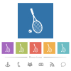 Tennis racket with ball flat white icons in square backgrounds. 6 bonus icons included. - Tennis racket with ball flat white icons in square backgrounds