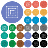 Nine men's morris game board round flat multi colored icons - Nine men's morris game board multi colored flat icons on round backgrounds. Included white, light and dark icon variations for hover and active status effects, and bonus shades.