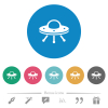 UFO flat white icons on round color backgrounds. 6 bonus icons included.