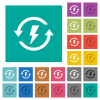 Renewable energy square flat multi colored icons - Renewable energy multi colored flat icons on plain square backgrounds. Included white and darker icon variations for hover or active effects.
