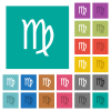 virgo zodiac symbol square flat multi colored icons - virgo zodiac symbol multi colored flat icons on plain square backgrounds. Included white and darker icon variations for hover or active effects.