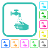 Hand washing vivid colored flat icons - Hand washing vivid colored flat icons in curved borders on white background