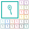 Tennis racket with ball flat color icons with quadrant frames on white background - Tennis racket with ball flat color icons with quadrant frames