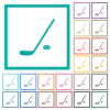 Hockey stick and puck flat color icons with quadrant frames - Hockey stick and puck flat color icons with quadrant frames on white background