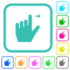 Left handed move right gesture vivid colored flat icons - Left handed move right gesture vivid colored flat icons in curved borders on white background