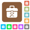 Toolbox rounded square flat icons - Toolbox flat icons on rounded square vivid color backgrounds.