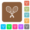 Two tennis rackets rounded square flat icons - Two tennis rackets flat icons on rounded square vivid color backgrounds.