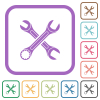 Two wrenches simple icons - Two wrenches simple icons in color rounded square frames on white background
