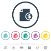 Dollar financial report flat color icons in round outlines - Dollar financial report flat color icons in round outlines. 6 bonus icons included.