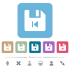 File previous flat icons on color rounded square backgrounds - File previous white flat icons on color rounded square backgrounds. 6 bonus icons included