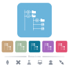 File browser with jpg files flat icons on color rounded square backgrounds - File browser with jpg files white flat icons on color rounded square backgrounds. 6 bonus icons included