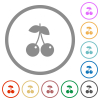 Pair of cherry flat icons with outlines - Pair of cherry flat color icons in round outlines on white background