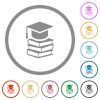Graduation cap with books flat color icons in round outlines on white background - Graduation cap with books flat icons with outlines