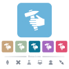 Hammer in hand white flat icons on color rounded square backgrounds. 6 bonus icons included - Hammer in hand flat icons on color rounded square backgrounds