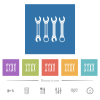 Set of wrenches flat white icons in square backgrounds - Set of wrenches flat white icons in square backgrounds. 6 bonus icons included.