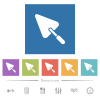 Trowel flat white icons in square backgrounds - Trowel flat white icons in square backgrounds. 6 bonus icons included.