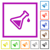 Experiment flat color icons in square frames on white background - Experiment flat framed icons