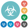 Biohazard sign flat round icons - Biohazard sign flat white icons on round color backgrounds