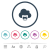 Cloud printing flat color icons in round outlines - Cloud printing flat color icons in round outlines. 6 bonus icons included.