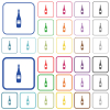 Wine bottle with label outlined flat color icons - Wine bottle with label color flat icons in rounded square frames. Thin and thick versions included.