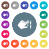 Left handed scroll down gesture flat white icons on round color backgrounds - Left handed scroll down gesture flat white icons on round color backgrounds. 17 background color variations are included.
