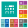 Set of screwdriver bits square flat multi colored icons - Set of screwdriver bits multi colored flat icons on plain square backgrounds. Included white and darker icon variations for hover or active effects.