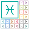 Pisces zodiac symbol flat color icons with quadrant frames - Pisces zodiac symbol flat color icons with quadrant frames on white background